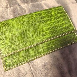 Faux green alligator skin clutch